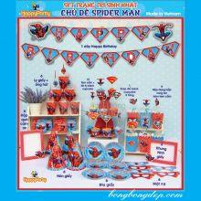 Sét Phụ Kiện Trang Trí Sinh Nhật Độc Đáo Chủ Đề Người Nhện Spider Man