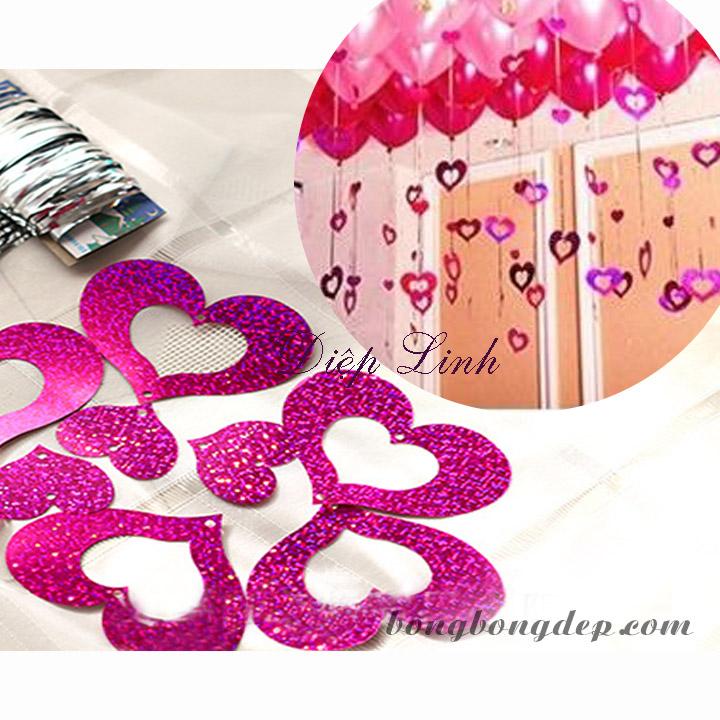 Dây kim tuyến trang trí hồng hình tim