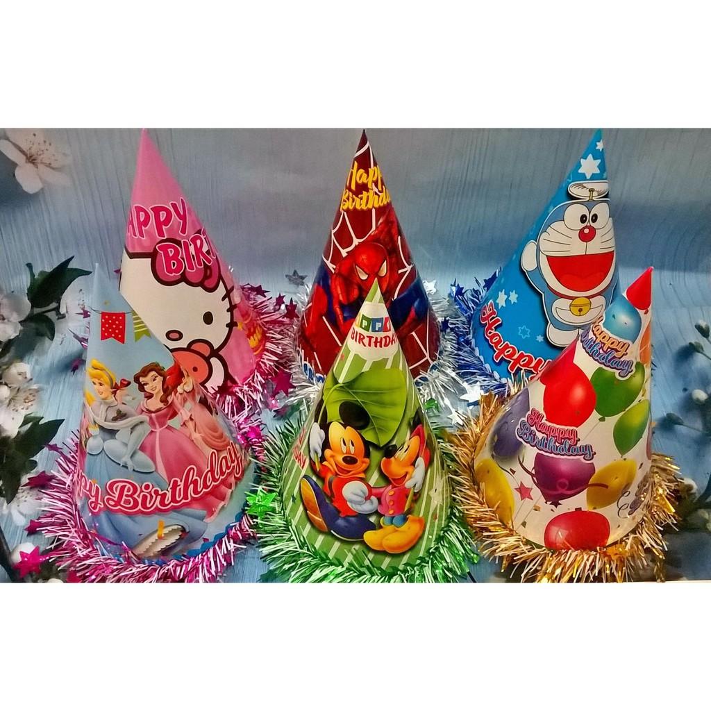 Nón tiệc sinh nhật Việt Nam nhiều mẫu viền kim tuyến