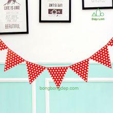 Dây treo trang trí sinh nhật nhà cửa chấm bi đỏ