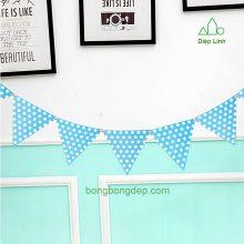 Dây treo trang trí tiệc nhà cửa chấm bi xanh
