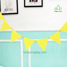 Dây treo trang trí sinh nhật nhà cửa chấm bi vàng