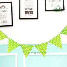 Dây treo trang trí sinh nhật nhà cửa chấm bi xanh lá