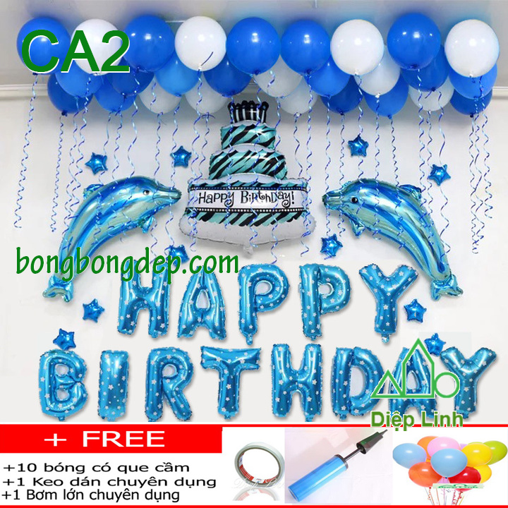 Set bong bóng trang trí sinh nhật mẫu cá 2