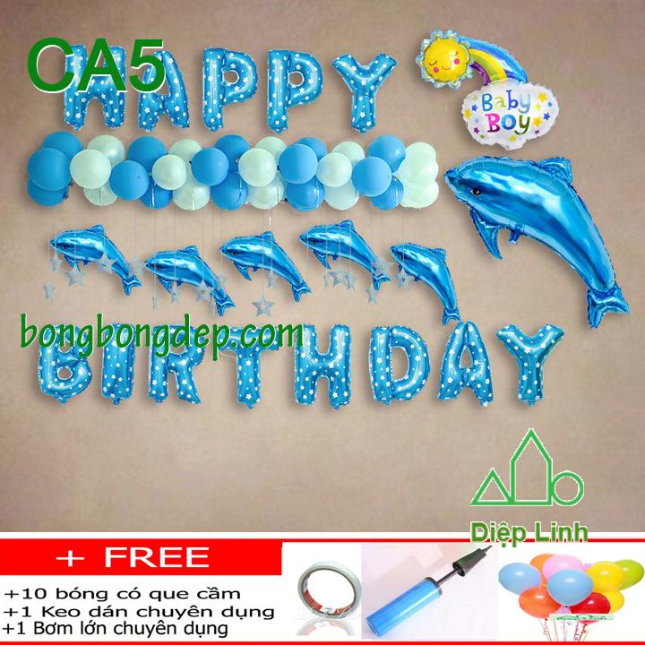 Set bong bóng trang trí sinh nhật mẫu cá 5