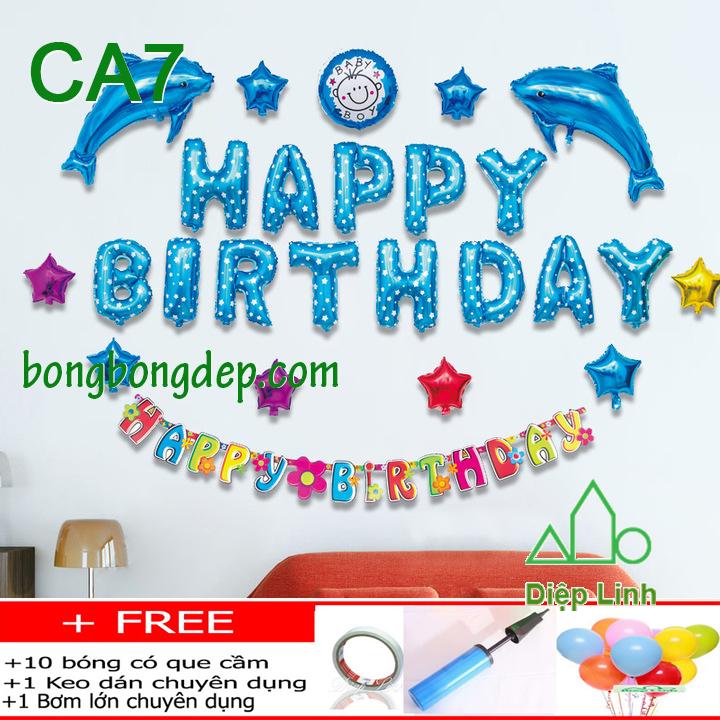 Set bong bóng trang trí sinh nhật mẫu cá 7