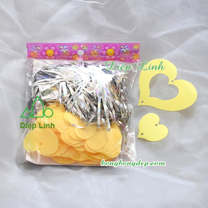 Dây kim tuyến trang trí macaron vàng hình tim