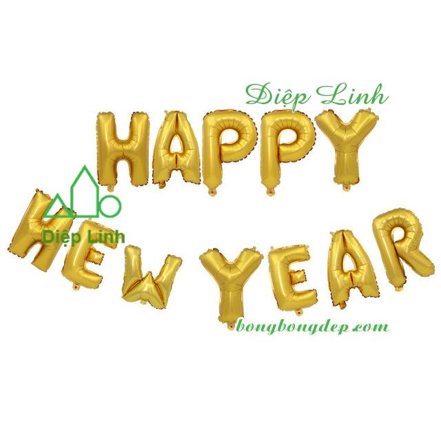 Bóng kiếng nhôm in HAPPY NEW YEAR vàng
