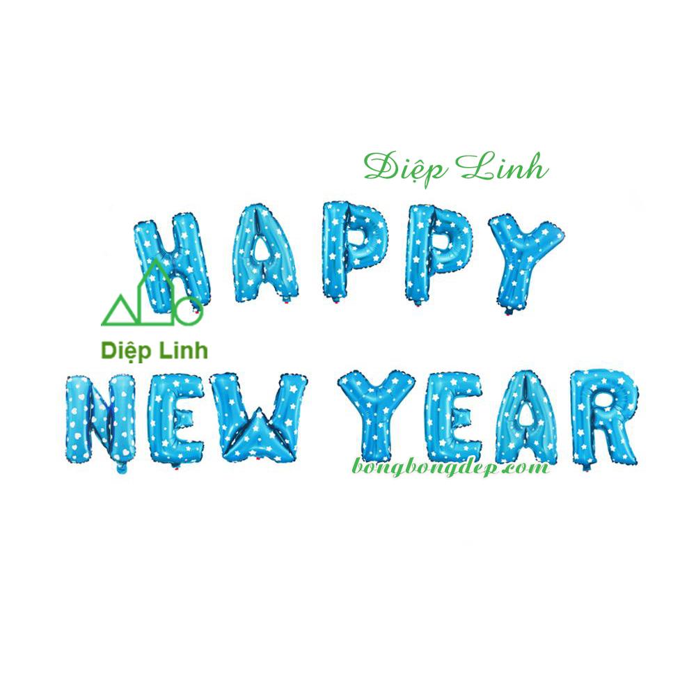 Bóng kiếng nhôm in HAPPY NEW YEAR xanh