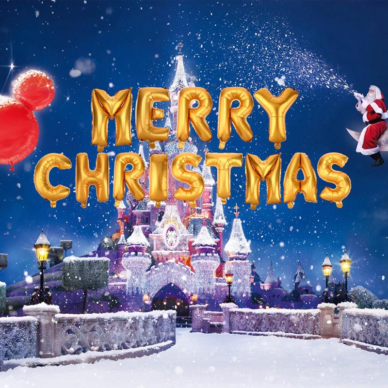 Bóng kiếng nhôm in Merry Christmas vàng