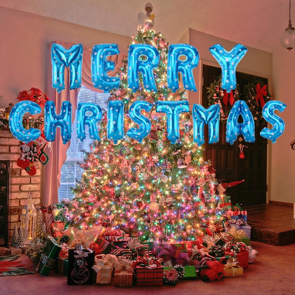 Bóng kiếng nhôm in Merry Christmas xanh dương
