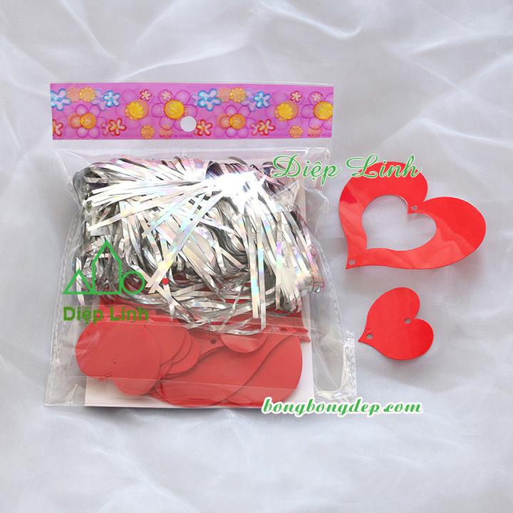 Dây kim tuyến trang trí macaron đỏ trơn hình tim