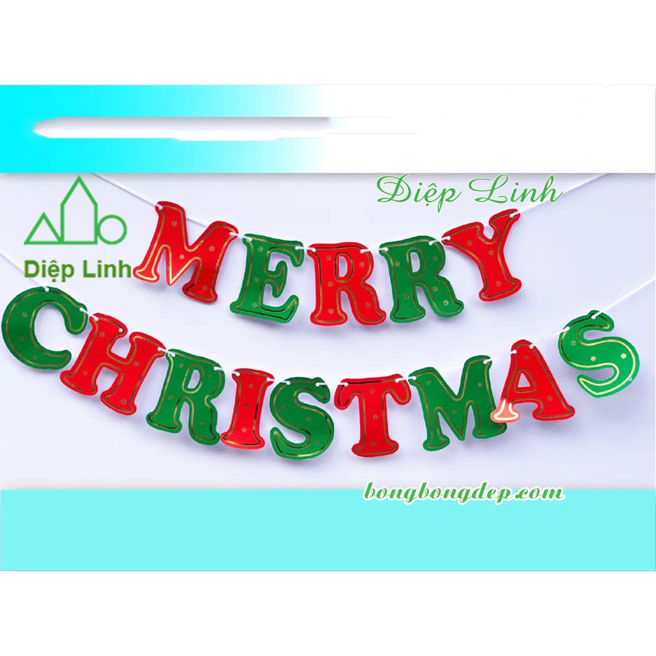 Dây treo trang trí chữ Merry Christmas nhiều màu