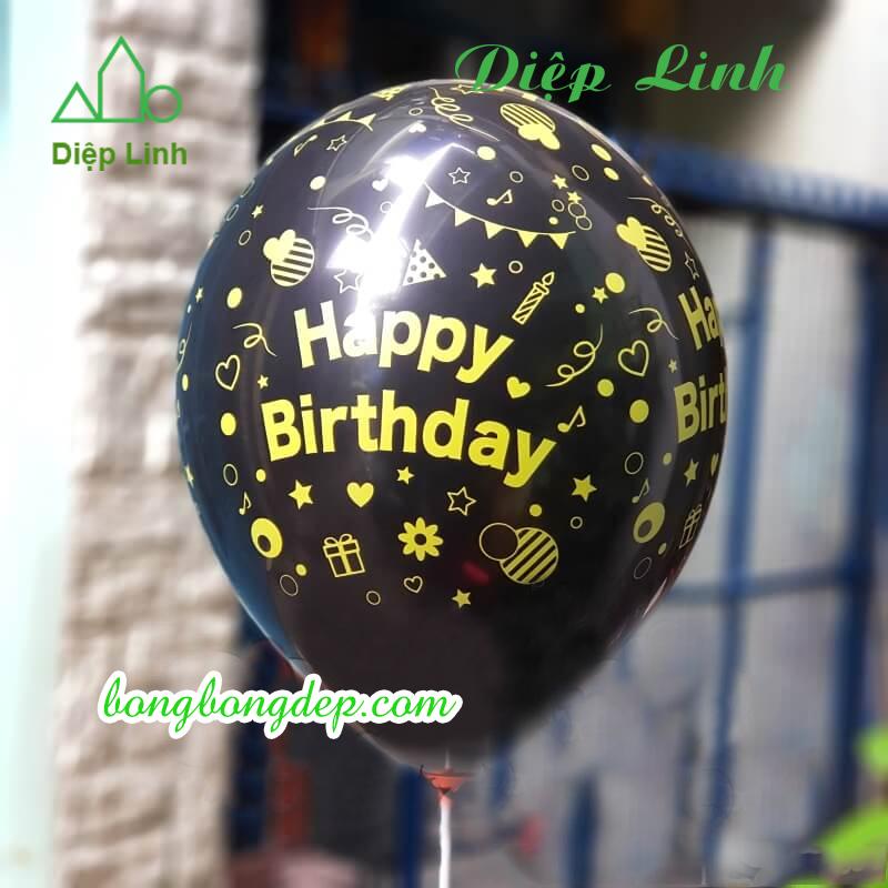 10 bóng in hình Happy Birthday đen chữ vàng