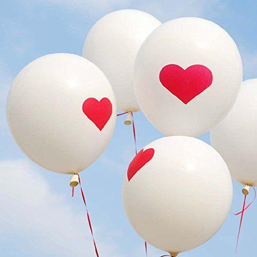 10 bóng trắng tim đỏ  trang trí các buổi tiệc