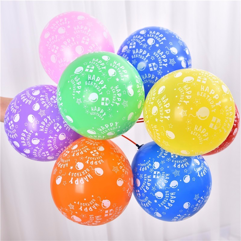 Bộ 10 bóng tròn 12inch happy birthday