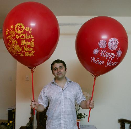 Bóng chúc mừng năm mới in 2 mặt 60cm
