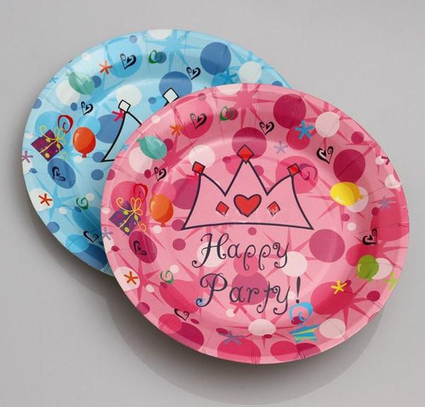 Bộ 6 đĩa giấy trang trí sinh nhật chấm bi họa tiết