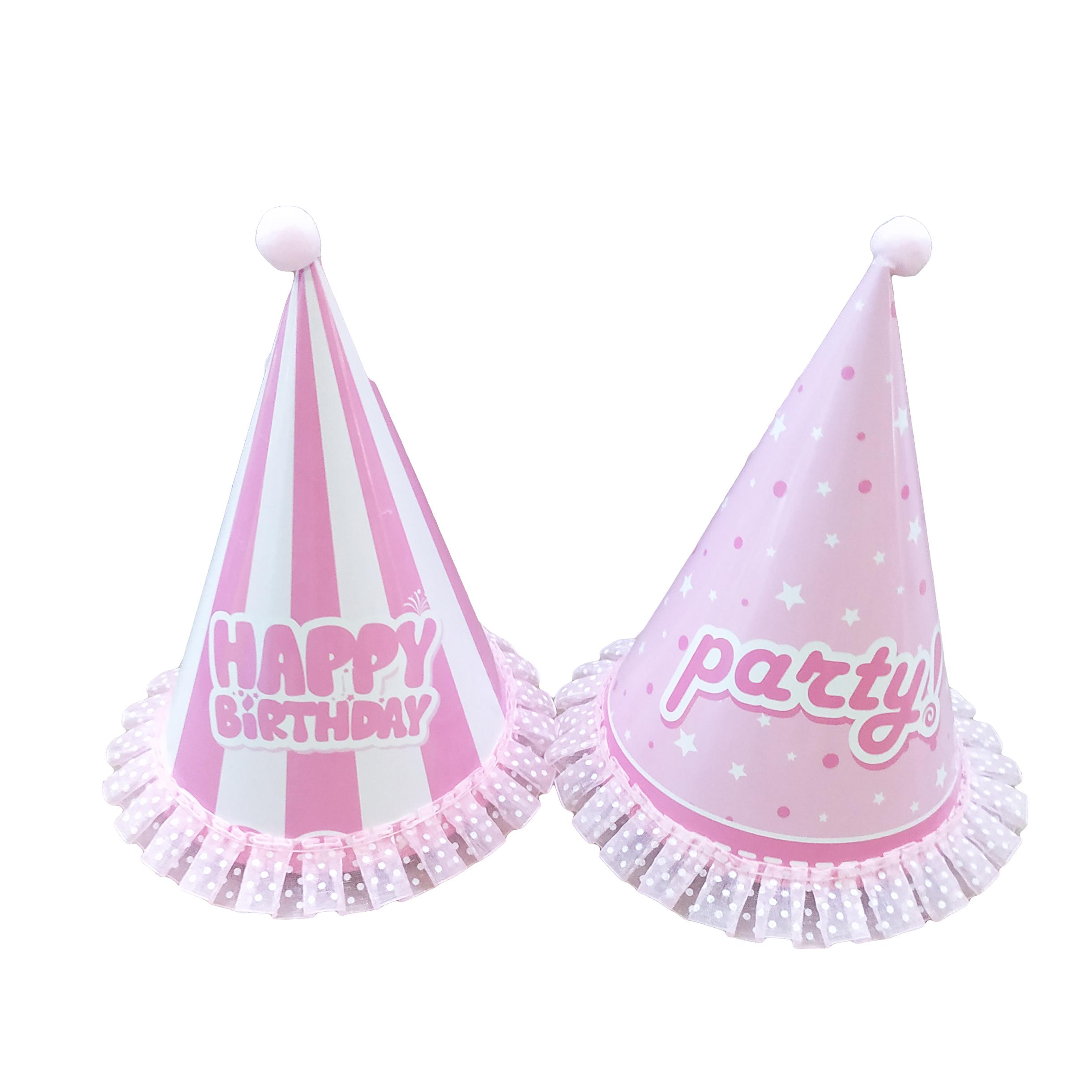 Mũ nón sinh nhật tiệc liên hoan trang trí ren hồng nhạt