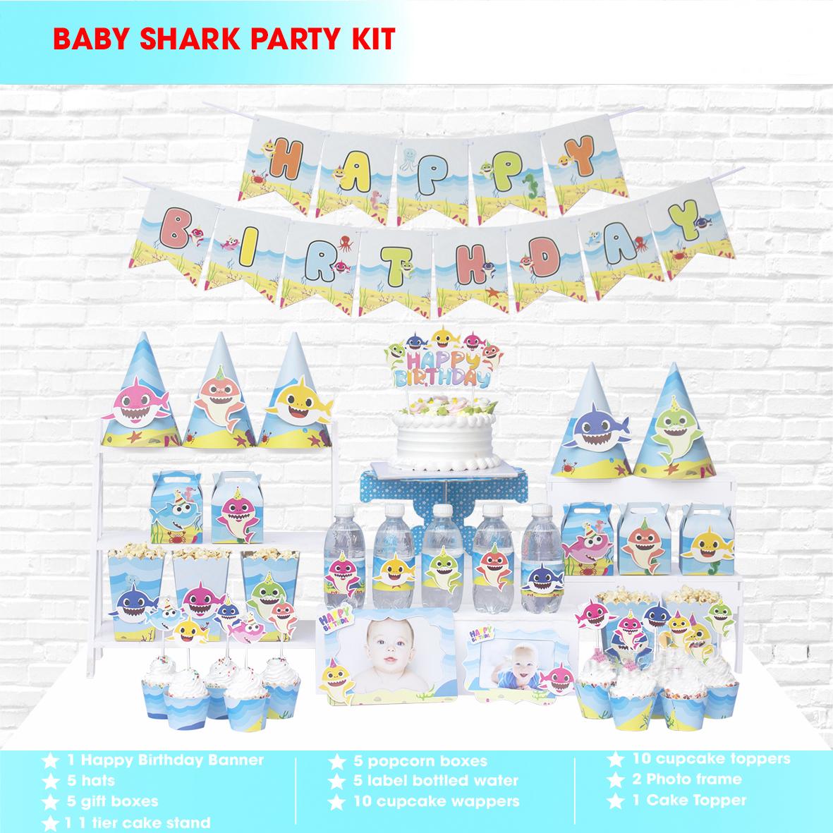 Sét Phụ Kiện Mega Trang Trí Sinh Nhật Độc Đáo Baby Shark