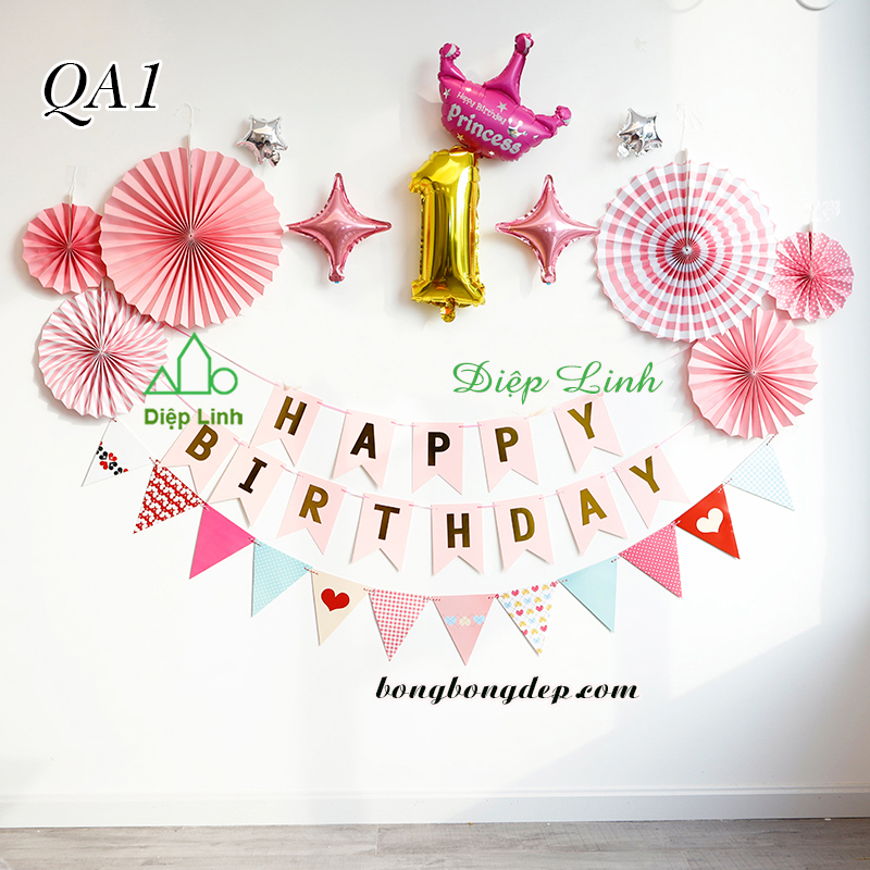 Sét trang trí quạt giấy QA1