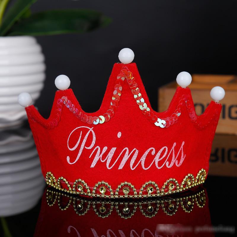 Nón sinh nhật phát sáng tiệc màu đỏ Princess
