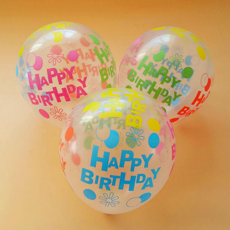 Bộ 50 Bong Bóng Trong Suốt 30cm In Chữ Màu Happy Birthday