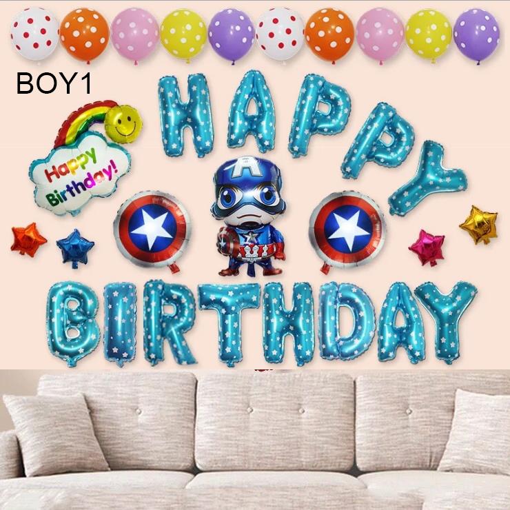 Sét bong bóng sinh nhật dành cho Bé Trai Siêu Nhân BOY1