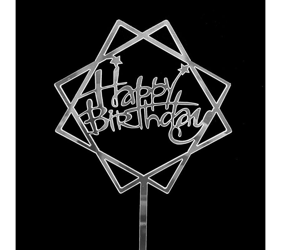 Toppers que cắm trang trí bánh sinh nhật Happy Birthday bạc