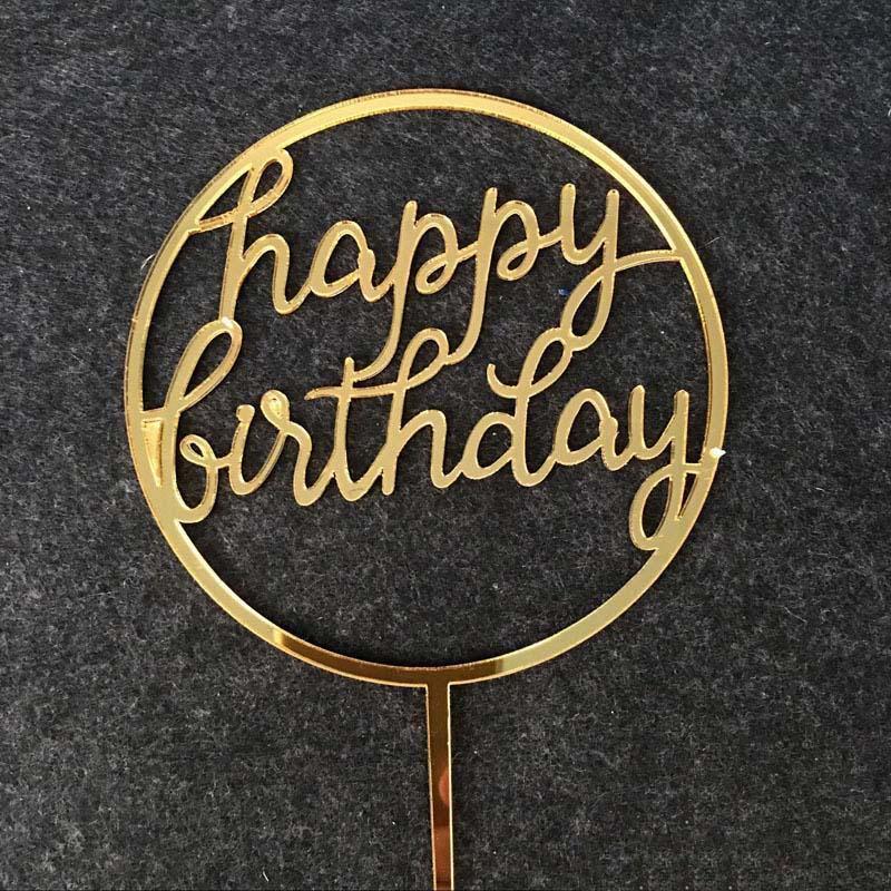 Toppers que cắm trang trí bánh sinh nhật Happy Birthday tròn vàng