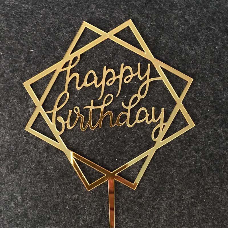 Toppers que cắm trang trí bánh sinh nhật Happy Birthday vàng