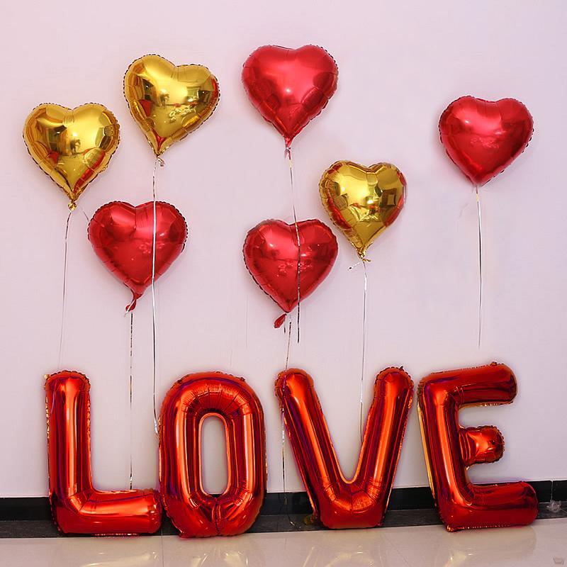 Set chữ LOVE tình yêu kèm bóng tim