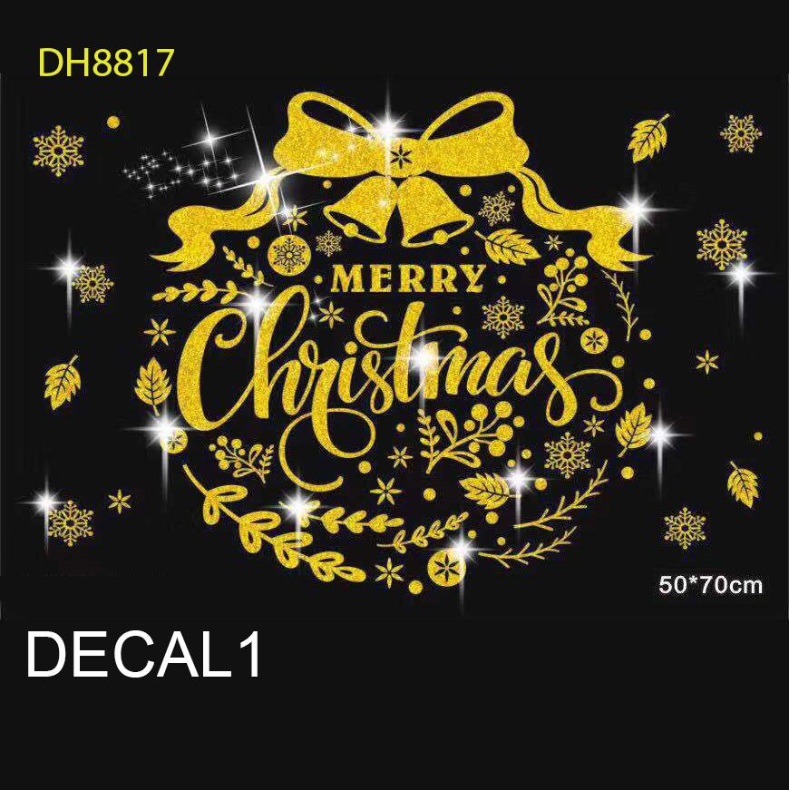 Tấm Decal Trong Dán Tường Kính Trang Trí Chủ Đề Noel Giáng Sinh Merry Christmas 1