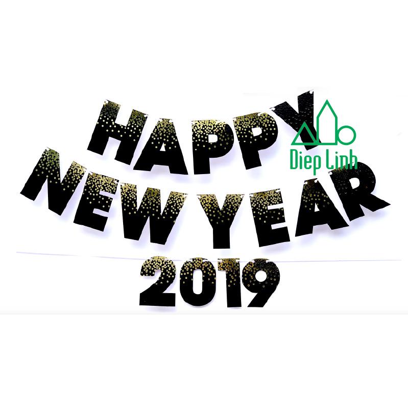 Dây treo trang trí Happy New Year màu đen dạng chữ