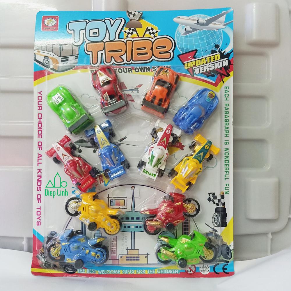 Vỉ 12 Bộ đồ chơi xe ô tô chạy trớn Tribe