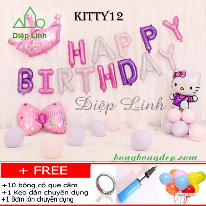 Set bong bóng trang trí sinh nhật chủ đề KITTY12