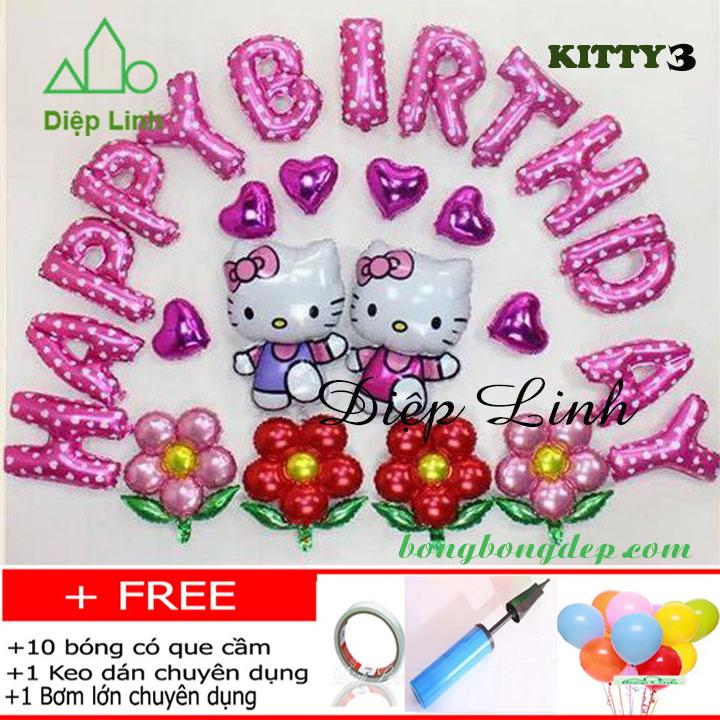 Set bong bóng trang trí sinh nhật chủ đề KITTY3
