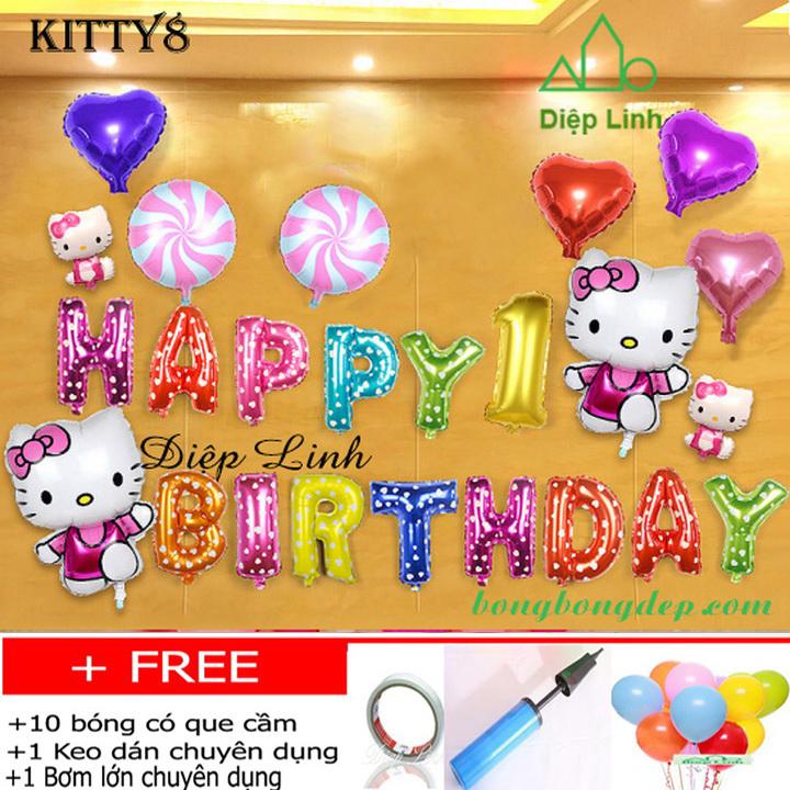 Set bong bóng trang trí sinh nhật chủ đề KITTY8
