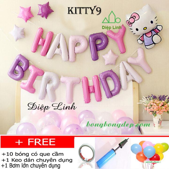 Set bong bóng trang trí sinh nhật chủ đề KITTY9