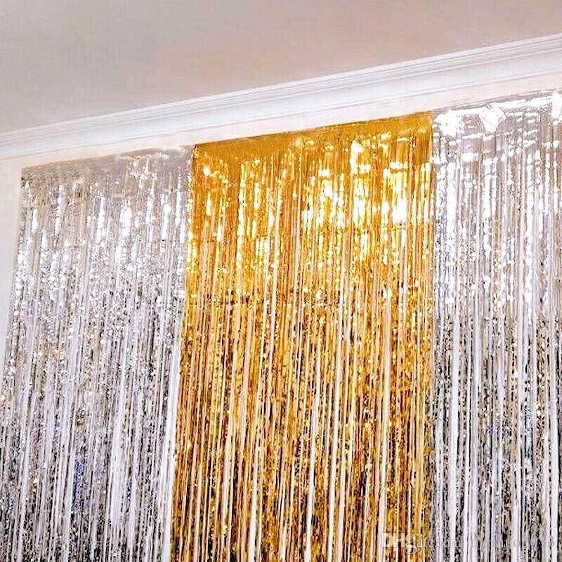 Rèm kim tuyến trang trí màu vàng bạc 1m x 3m