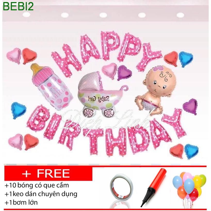 Sét bóng sinh nhật thôi nôi đầy tháng BEBI2