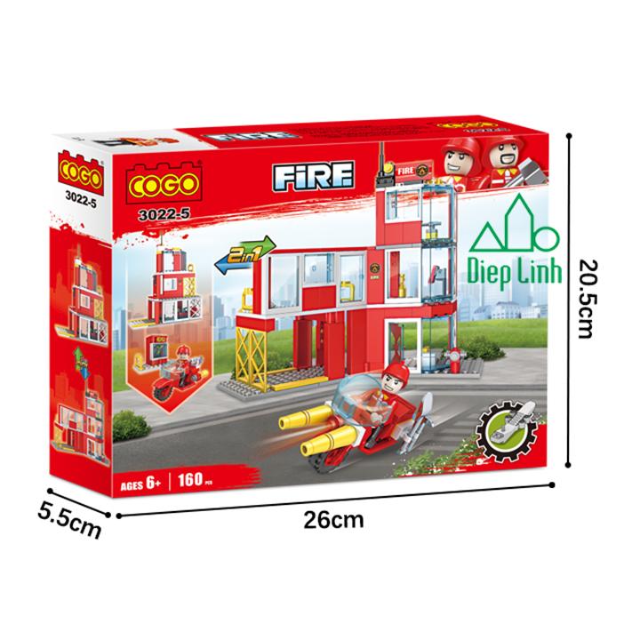 Bộ đồ chơi lắp ghép cogo xe cứu hỏa 160 chi tiết