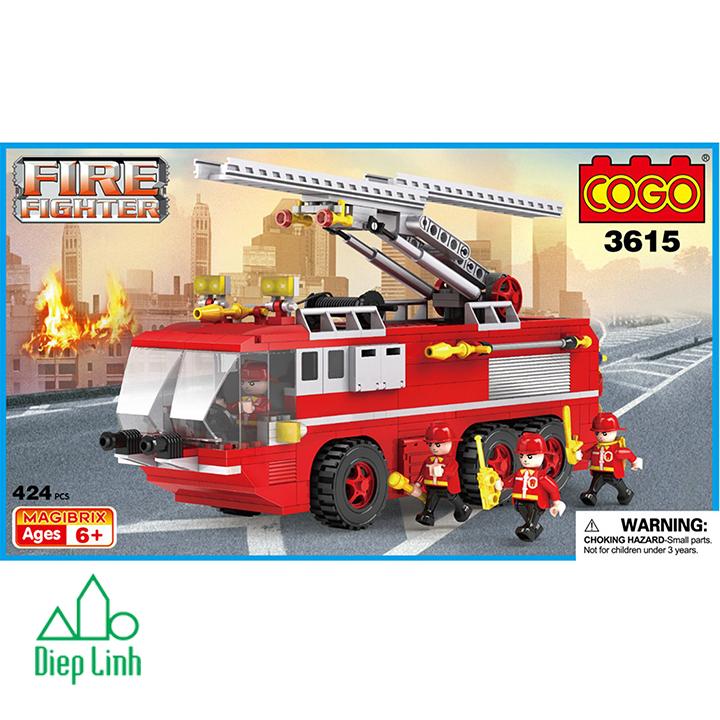 Bộ đồ chơi lắp ghép cogo xe cứu hỏa 424 chi tiết