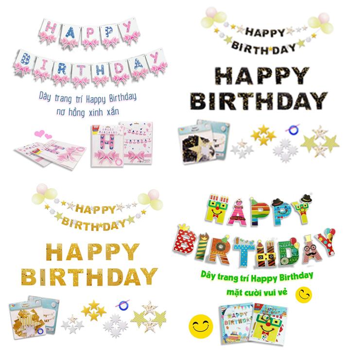 Dây treo giấy trang trí chữ Happy Birthday Kiểu