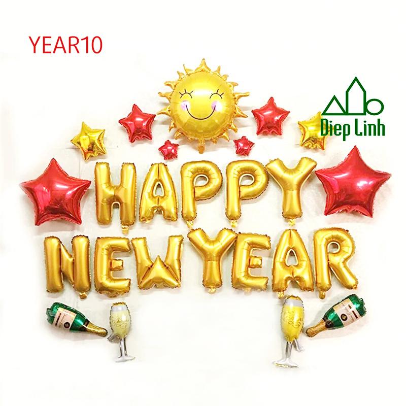 Sét Bóng Trang Trí Năm Mới Happy New Year Chúc Mừng Năm Mới YEAR10