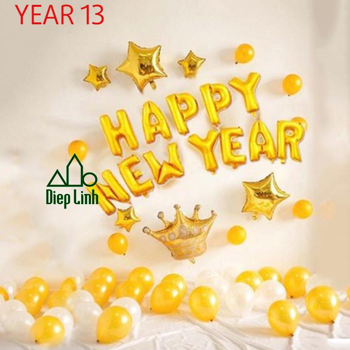 Sét Bóng Trang Trí Năm Mới Happy New Year Chúc Mừng Năm Mới YEAR13