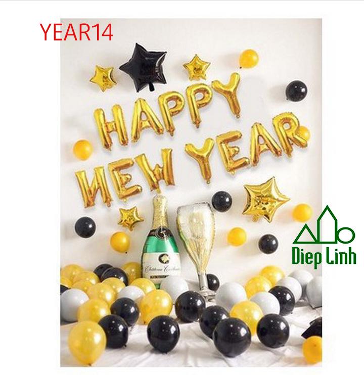 Sét Bóng Trang Trí Năm Mới Happy New Year Chúc Mừng Năm Mới YEAR14