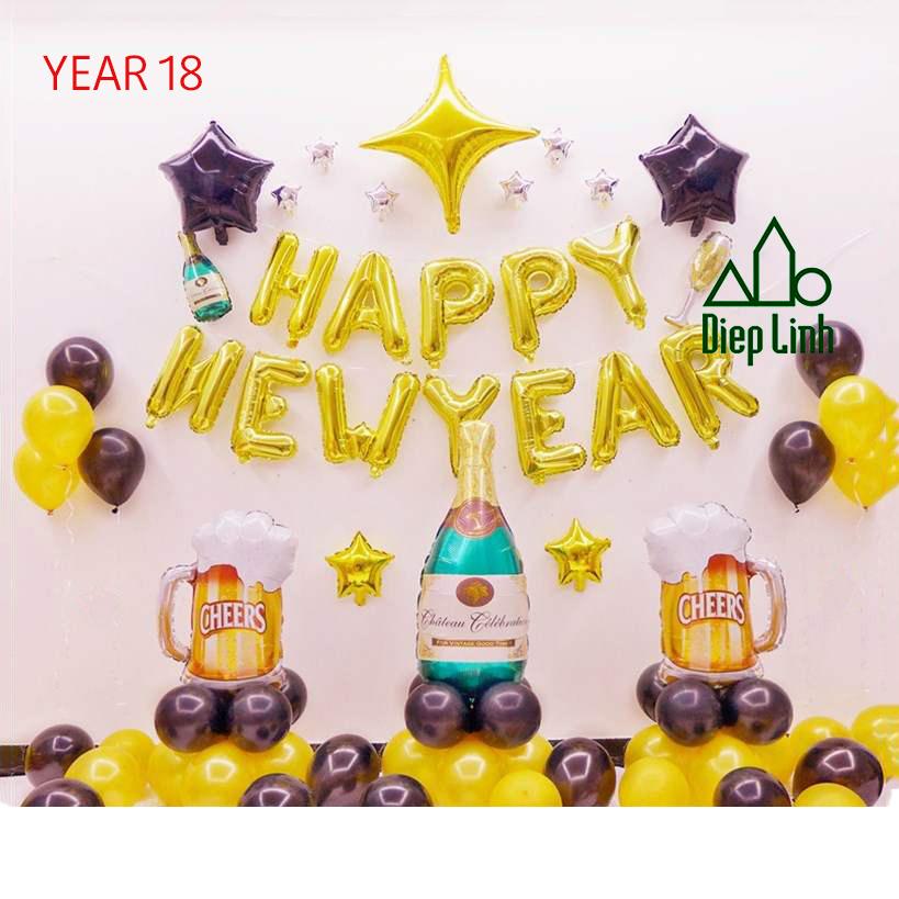 Sét Bóng Trang Trí Năm Mới Happy New Year Chúc Mừng Năm Mới YEAR18