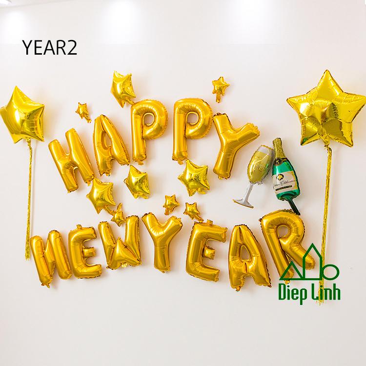 Sét Bóng Trang Trí Năm Mới Happy New Year Chúc Mừng Năm Mới YEAR2