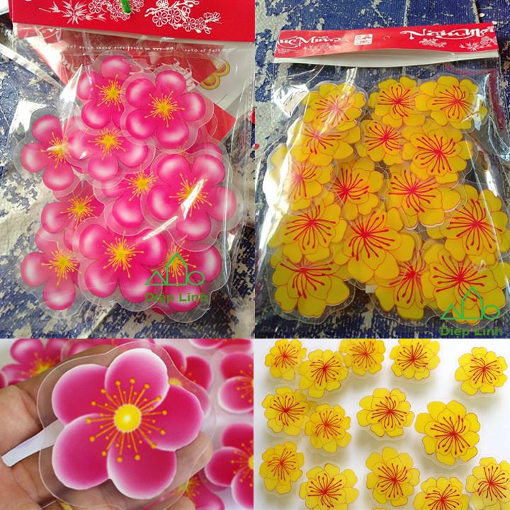 Set hình dán hoa mai vàng nhựa chào Xuân trang trí tết